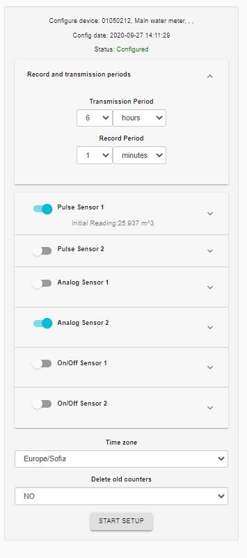 Data logger configuation menu